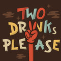 Two Drinks Please Funny Hand Drawn Artistic Cartoon Illustration Royalty Free Stock Photo