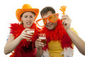 Two Dutch soccer fans Royalty Free Stock Images