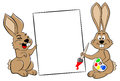 Two easter bunnies with a sign vector illustration of Stock Photo