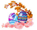 Two easter eggs hidden in the garden illustration of on a white background Royalty Free Stock Images