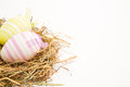 Two easter eggs straw white background Royalty Free Stock Photo