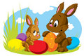 Two Easter Rabbits With Eggs