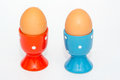 Two eggs in egg holders Royalty Free Stock Photo