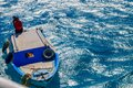 Two egyptians in old motorboat on the Red sea. View from above Royalty Free Stock Photo
