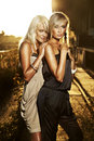Two elegant blond women Royalty Free Stock Photos