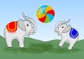 Two elephants playing with colorful beach ball on green meadow. Vector children illustration.