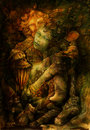 Two elves deep inside enchanted nature realm illustration Stock Photography