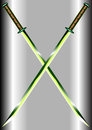Two emerald crossed swords Stock Photo