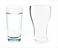 Two empty glass on white background