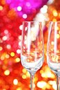 Two empty glasses on the blurred background Stock Image