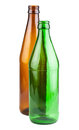 Two empty green and brown beer bottles Royalty Free Stock Photo