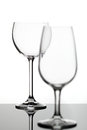 Two empty wine glasses Stock Images