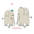 Two enamored elephants, greeting card of Valentine's Day and we Stock Images