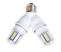 Two energy saving mini diode lamps splitter isolated white background studio photography Royalty Free Stock Image
