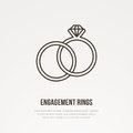Two engagement rings with diamond illustration. Jewelry flat line icon, jewellery brilliant store logo. Jewels
