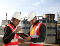 Two engineer on location site disscution Stock Photography