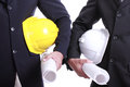 Two engineer people holding safety hat for work thier project with teamwork concept Stock Image