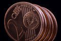 Two euro cent coin close up of over black background Stock Image