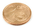Two Euro cents coin isolated on white background Royalty Free Stock Photo