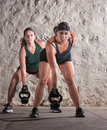 Two European Woman in Boot Camp Workout Royalty Free Stock Image
