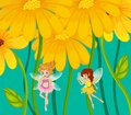 Two fairies under the flowers illustration of Stock Photos