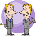 Two false businessmen cartoon concept illustration of or politicians pretending friendship Stock Photo