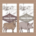 Two farm shop labels with farmhouse, barn, cow and pig on white.