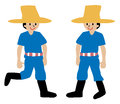 Two farmers cartoon illustration cute they are in blue shirts and big hats Stock Photos