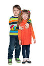 Two fashion children a portrait of smiling kids against the white background Stock Photography