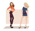 Two fashion girls vector illustration of Royalty Free Stock Photos