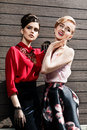 Two fashion models posing Royalty Free Stock Photo