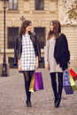 Two fashion models shopping Royalty Free Stock Photo