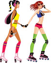 Two fashion roller girls vector illustration of girl on skate Stock Image