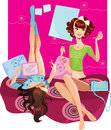 Two fashionable girl in the room vector illustration of girls sitting on couch Stock Images