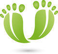 Two feet in green, foot care and feet logo