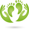 Two feet and hands, foot care and massage logo Royalty Free Stock Photo