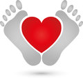 Two feet and heart, pedicure and foot care logo