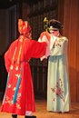 Two female actors perform chinese opera, suzhou, china