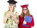 Two female graduates happy academic Stock Photo