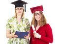 Two female graduates happy academic Royalty Free Stock Photo