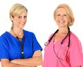 Two female nurses friendly in uniform with stethoscope Royalty Free Stock Photos