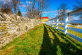 Two fences traditional stone and wooden in shaker village of pleasant hill kentucky Stock Images