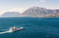 Two ferry boats sailing towards eachother patras greece Royalty Free Stock Photos