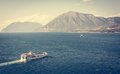 Two ferry boats sailing towards eachother in vintage look Stock Images
