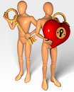 Two figures holding key and lock in shape of heart rendering illustration Royalty Free Stock Photo