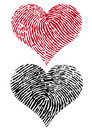 Two fingerprint hearts, vector Stock Image