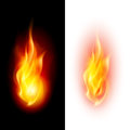 Two fire flames on contrast black and white backgrounds Stock Photography