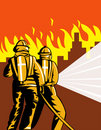 Two firemen fighting city on fire Royalty Free Stock Photos