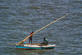 Two fishermen at sea near maputo mozambique feb a small fishing dhow sails past on feb in mozambique Stock Photography