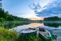 Two fishing boats on a lake at dawn Royalty Free Stock Photo